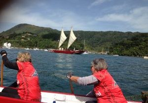 Sailing waka at Picton